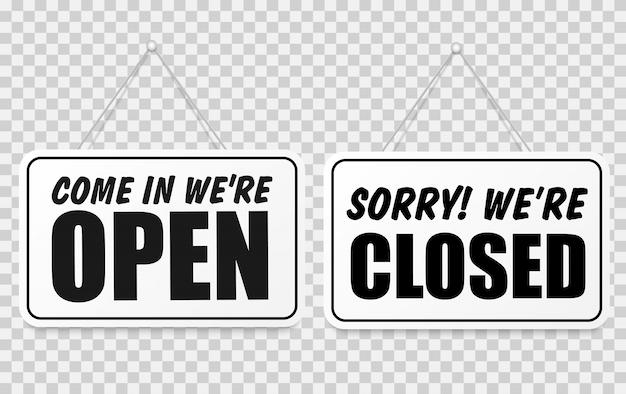 Wejdź, jesteśmy otwarci lub zamknięci, zestaw znaków