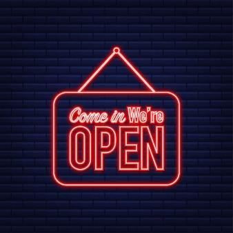 Wejdź, otwieramy wiszący znak. zaloguj się do drzwi. neonowa ikona. ilustracja wektorowa.