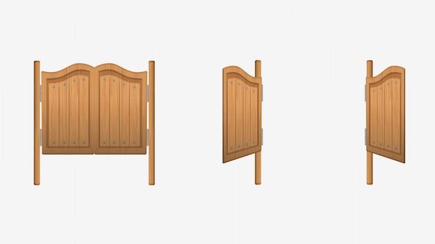 Wejście do baru w drzwiach salonu. dziki zachód saloon drzwi wejściowe stary huśtawka styl drewniany brązowy.