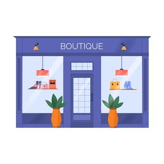 Wejście do butiku i wystawa z modnymi akcesoriami płaską ilustracją
