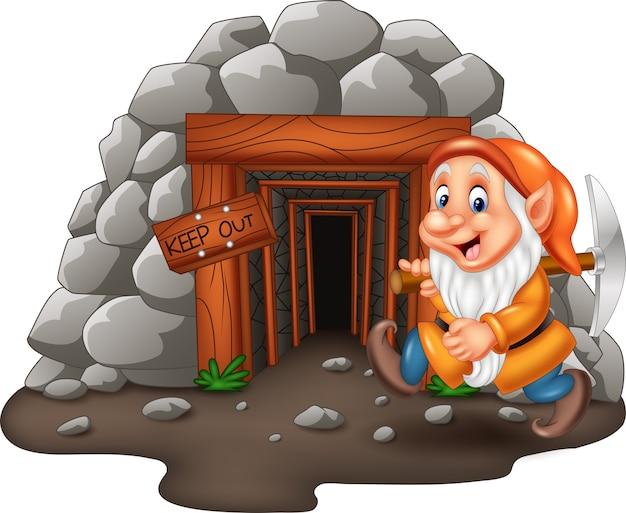 Wejście do kopalni cartoon z górnikiem karłowatym