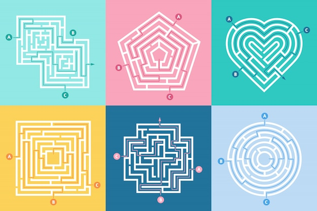 Wejście do labiryntu, znajdź właściwą drogę, labirynt dla dzieci i wybór labiryntów wejściowych zestaw liter