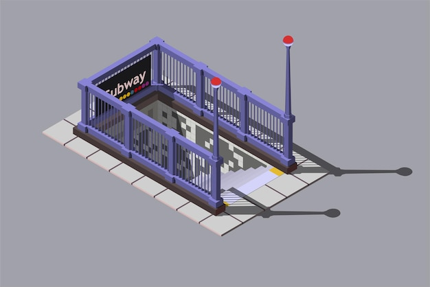 Wejście do podziemnej stacji metra, ilustracja izometryczna.