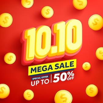 Wektor 1010 dzień zakupów plakat lub baner ze złotymi monetami na czerwonym tle