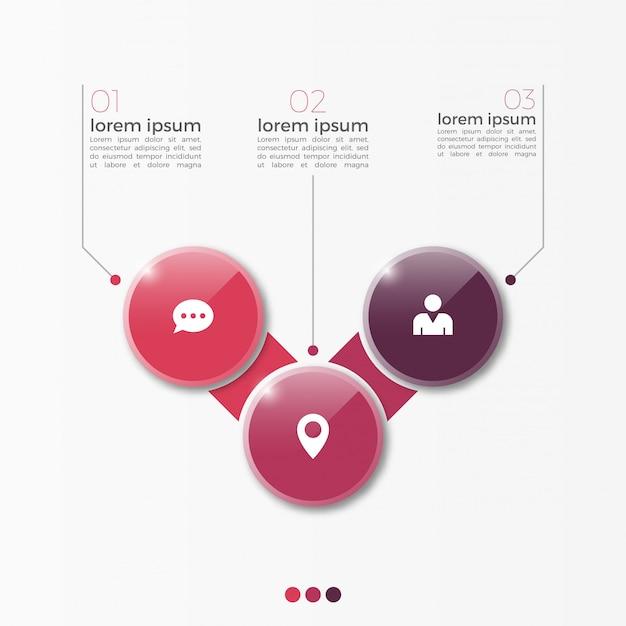 Wektor 3 opcja infographic szablon z koła do prezentacji