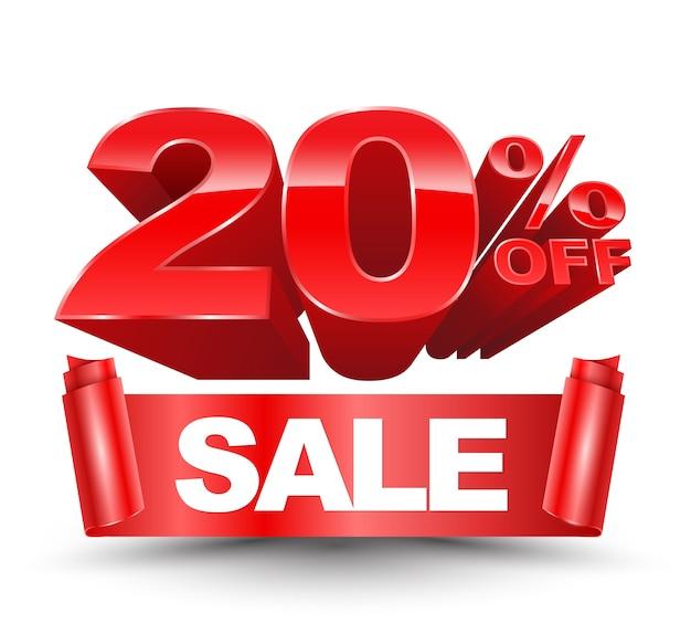 Wektor 3d 20 procent off czerwony z czerwoną wstążką sprzedaży