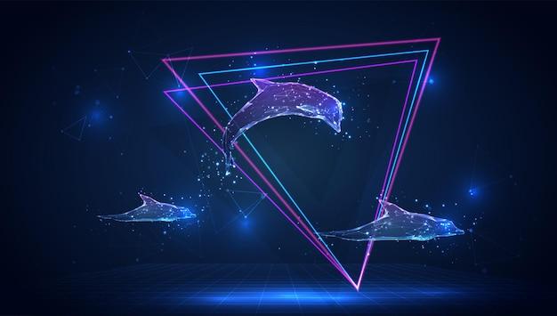 Wektor 3d delfin na niebieskim tle w wirtualnej przestrzeni