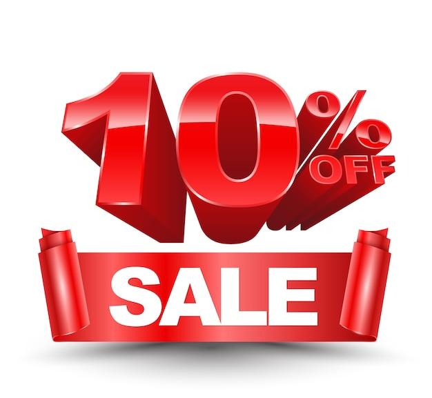 Wektor 3d dziesięć procent off czerwony z czerwoną wstążką sprzedaży