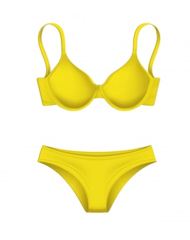 Wektor 3d makieta żółty majtki biustonosz szablon makieta
