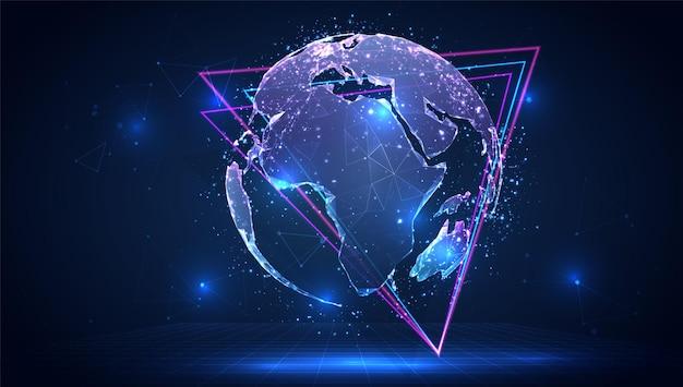 Wektor 3d planeta ziemia na niebieskim tle w wirtualnej przestrzeni