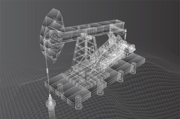Wektor 3d platformy wiertnicze z wielokątów i linii