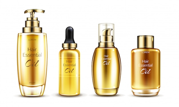Wektor 3d realistyczna esencja w złotej szklanej butelce z dozownikiem pompy. serum do włosów w różnych opakowaniach