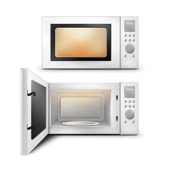 Wektor 3d realistyczna kuchenka mikrofalowa ze światłem, zegarem i pustą szklaną płytą wewnątrz widok z przodu na białym tle. urządzenie gospodarstwa domowego z otwartymi i zamkniętymi drzwiami do podgrzewania i rozmrażania żywności, do gotowania