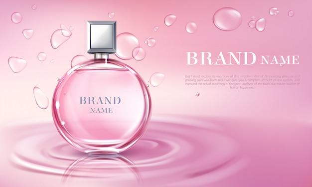 Wektor 3d realistyczny plakat, baner z butelki perfum na powierzchni wody.