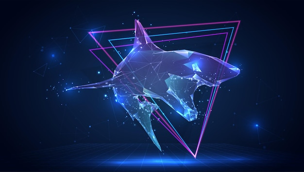 Wektor 3d rekin na niebieskim tle w wirtualnej przestrzeni