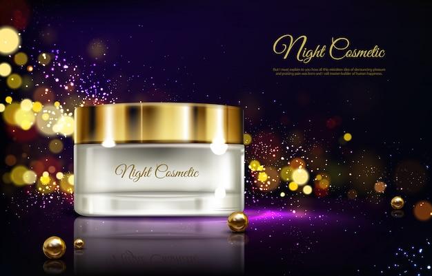 Wektor 3d reklamy realistyczne makiety - krem na noc w słoiku, luksusowe kosmetyki.