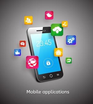 Wektor 3d smartphone z chmurami i ikonami aplikacji aplikacji