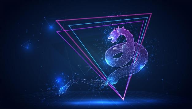 Wektor 3d smoka węża na niebieskim tle w wirtualnej przestrzeni