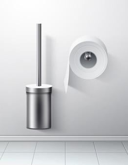 Wektor 3d srebrna szczotka toaletowa papier toaletowy rolka