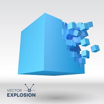 Wektor 3d wybuch kostki z cząstkami sześciennymi