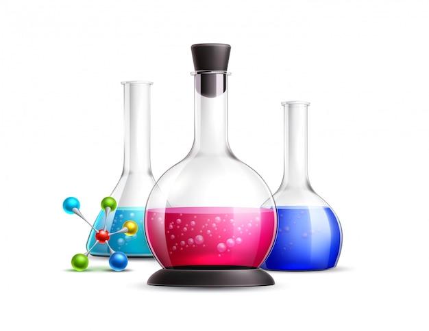 Wektor 3d zestaw probówek chemicznych laboratorium kolby