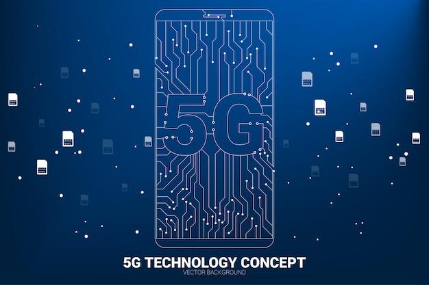 Wektor 5g kropka połączyć linię obwodu drukowanego stylu ikona telefonu komórkowego. koncepcja transferu danych mobilnej sieci danych.