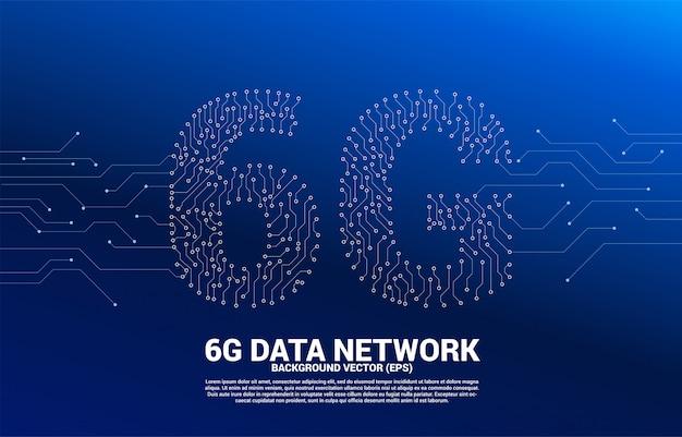 Wektor 6g kropka podłącz telefon komórkowy w stylu linii obwodu drukowanego. koncepcja transferu danych mobilnej sieci danych.