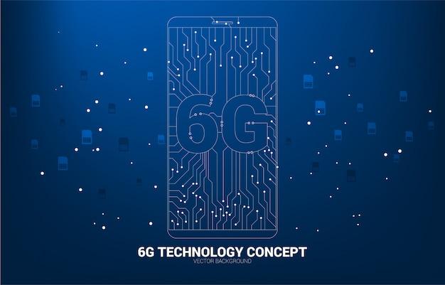 Wektor 6g kropka podłączyć ikonę telefonu komórkowego w stylu linii obwodu drukowanego.