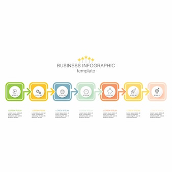Wektor 7 kroków osi czasu infographic szablon ze strzałkami. ilustracji wektorowych