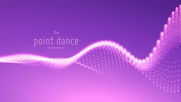 Wektor abstrakcyjna fala cząstek, tablica punktów z płytką głębią ostrości.