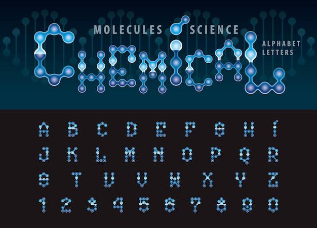 Wektor abstrakcyjne cząsteczki komórki litery alfabetu i liczb
