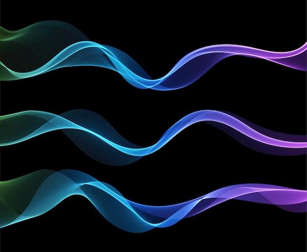 Wektor abstrakcyjne kolorowe fale płynące linie na białym tle na czarnym tle