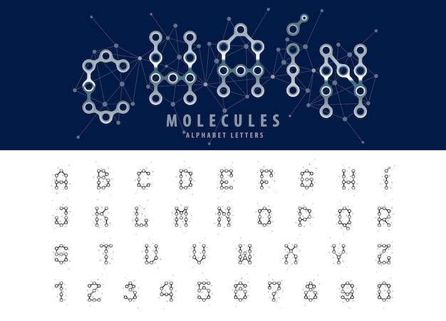 Wektor abstrakcyjne litery alfabetu łańcucha i liczb