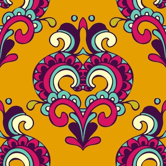Wektor adamaszku świąteczny żółty abstrakcyjny wzór bez szwu