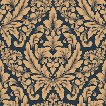 Wektor adamaszku wzór. klasyczny luksusowy staromodny ornament damasceński, królewska wiktoriańska tapeta