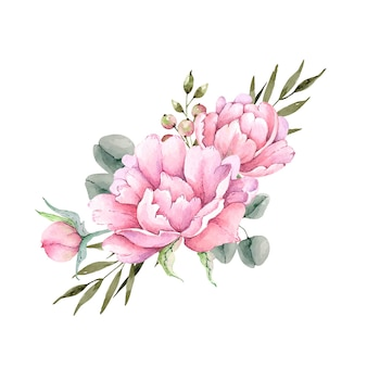 Wektor akwarela bukiet różowe kwiaty piwonia