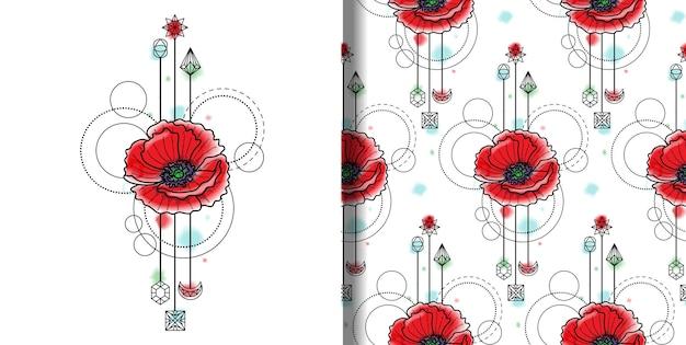 Wektor akwarela poppy druku i wzór bez szwu