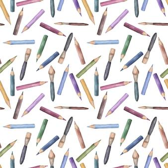 Wektor akwarelowe ołówki i pędzle bez szwu wzór