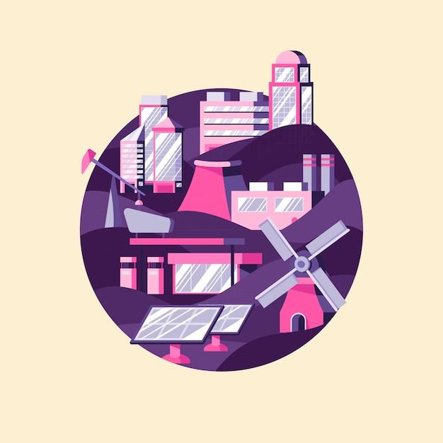 Wektor alternatywnych źródeł energii w kolorze fioletowym