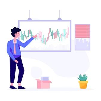 Wektor analizy danych rynkowych w stylu płaskiej ilustracji