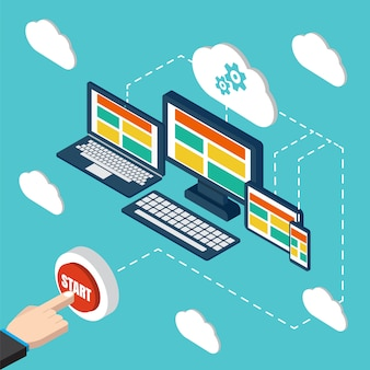 Wektor analizy i programowania. optymalizacja aplikacji internetowych. responsywny komputer. technologia chmurowa