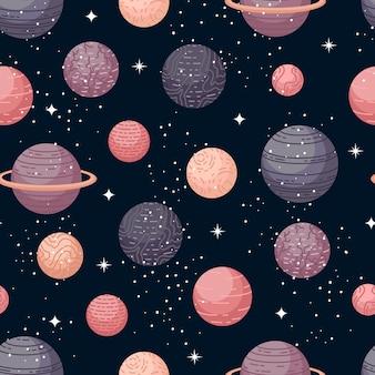Wektor astrologiczny wzór z planet i gwiazd