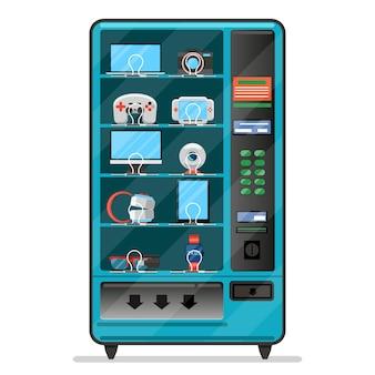 Wektor automat z urządzeniami elektronicznymi, gadżetami. automat do sprzedaży, serwis automatycznej sprzedaży, ilustracja automatu do sprzedaży towarów