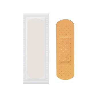 Wektor bandaż tynk pomoc zespół zestaw medyczny klej na białym tle