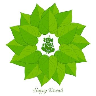 Wektor betel liści z Lord Ganesh tle