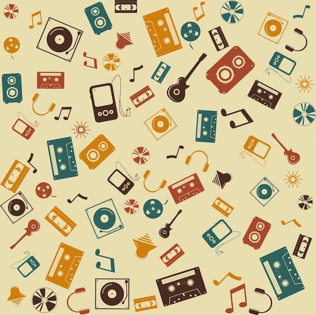 Wektor bez szwu tła. muzyka retro muzyka.
