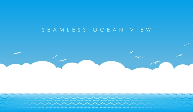 Wektor bez szwu widok na ocean
