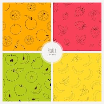Wektor bez szwu wzorów z bananów, pomarańczy i jabłek zestaw wzorów owocowych