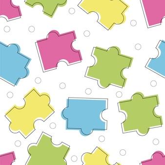 Wektor. bezszwowa ozdoba puzzle w kolorze - styl linii