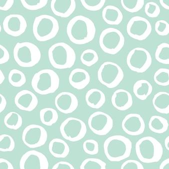 Wektor bezszwowe czarno-biały wzór. abstrakcyjne tło z okrągłymi pociągnięciami pędzla
